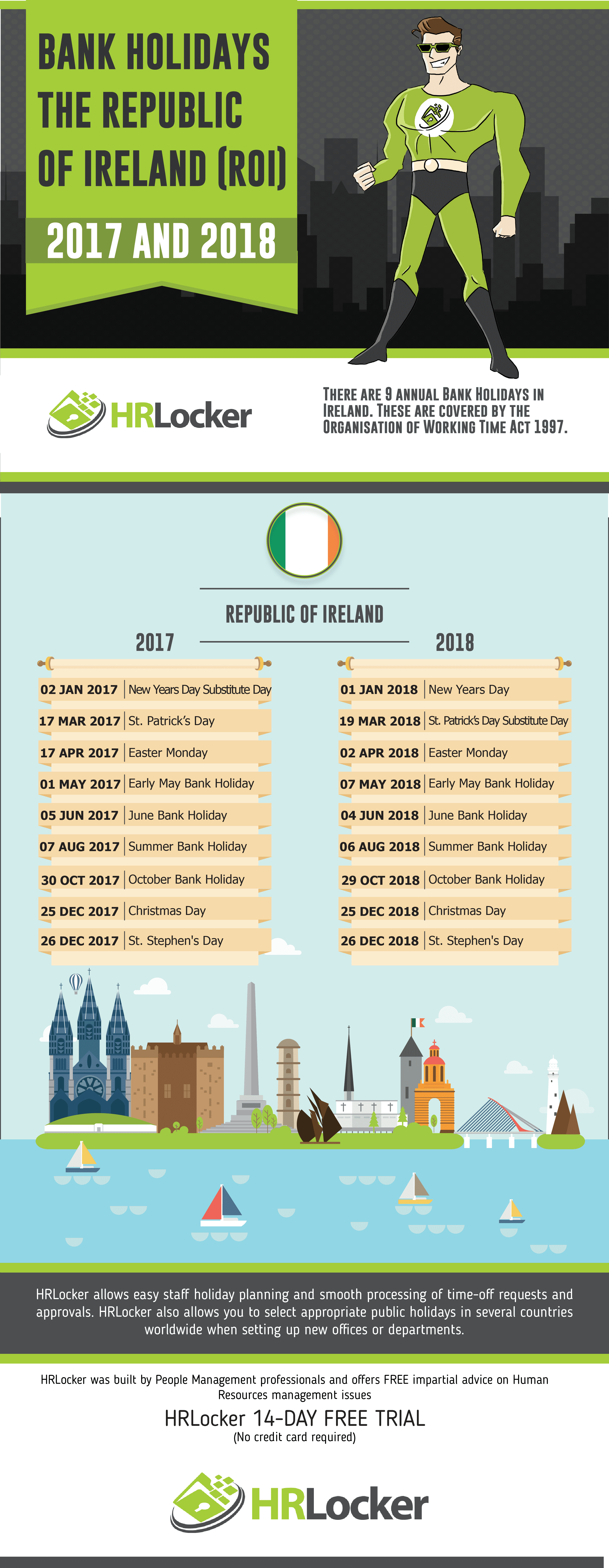 An infographic listing the Republic of Ireland 2017 and 2018 bank Holiday dates