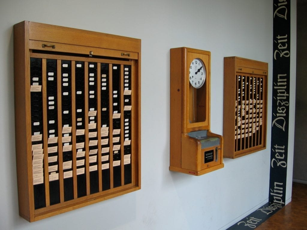 picture of an old fashioned punching in clock in in out machine in a factory time and attendance systems