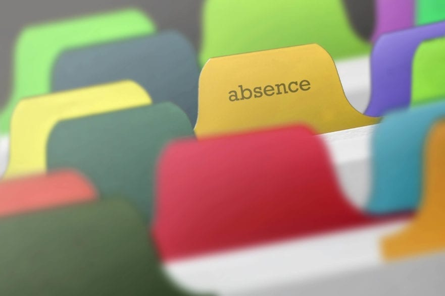 pi sure of a folder tab saying absence for blog post about absence management software systems