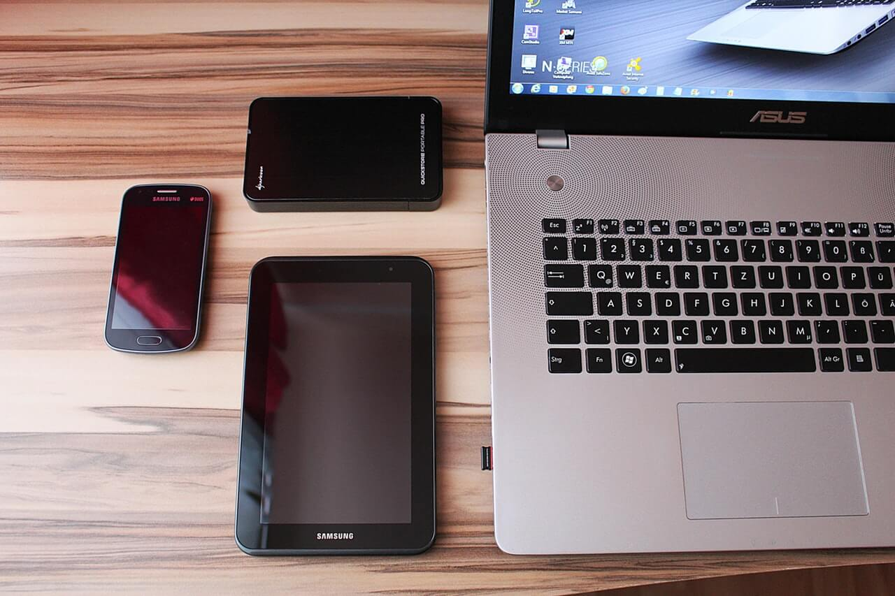 Pic of multiple devices for blog post about how single sign on can enhance security for hr software