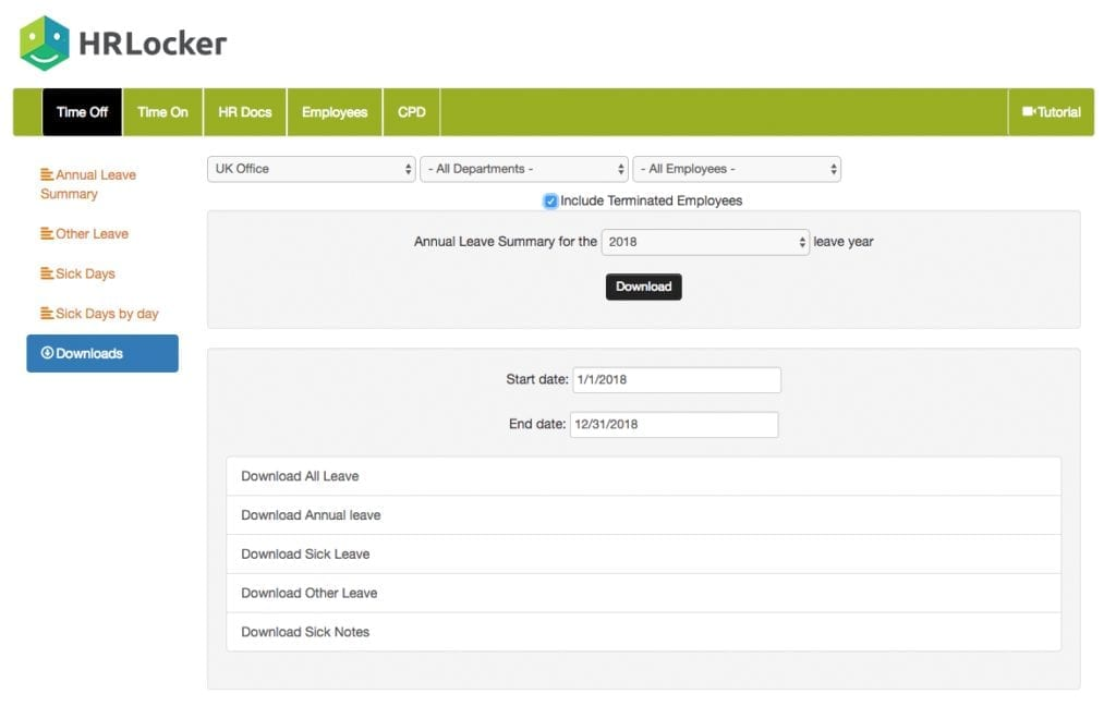 HRLocker Download Reports area screenshot