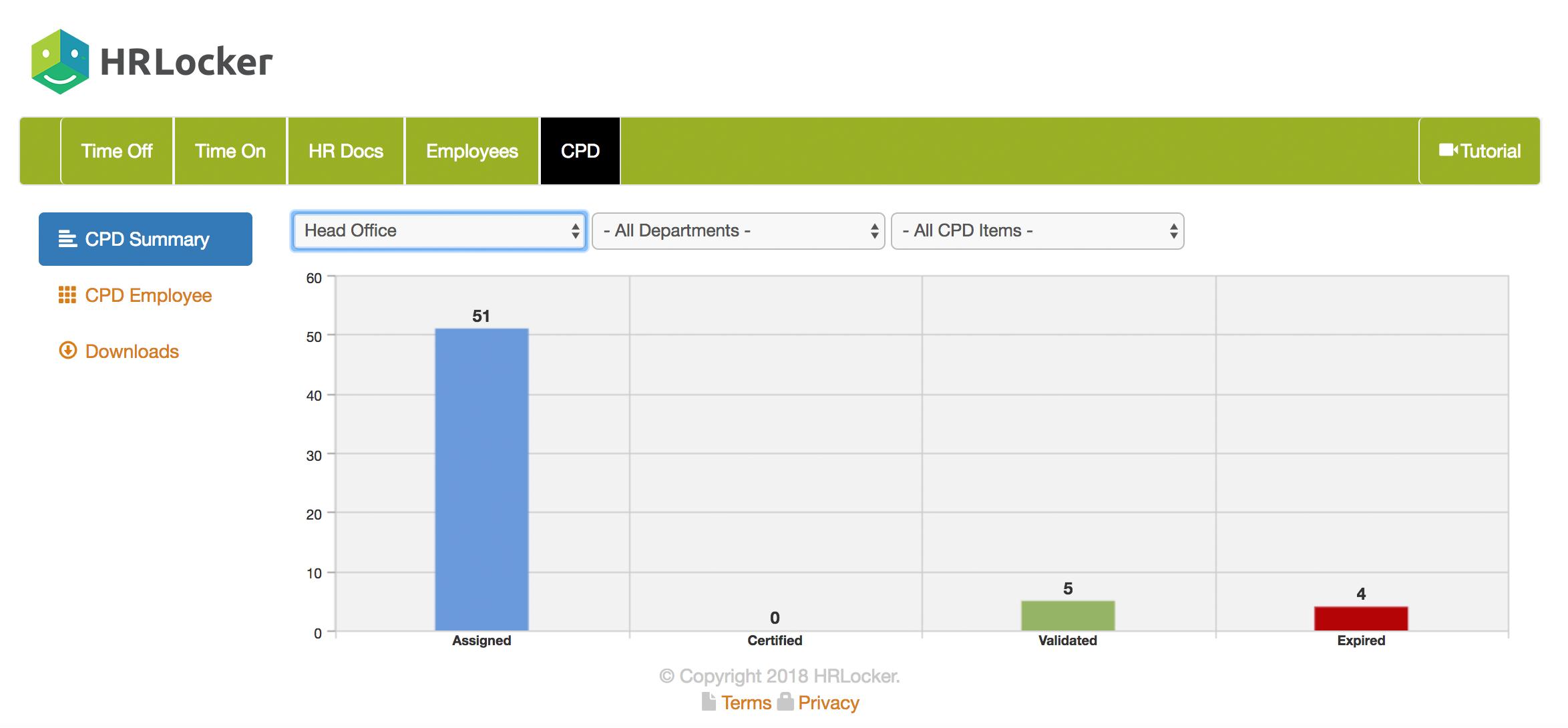 Screenshot of HRLocker's report area