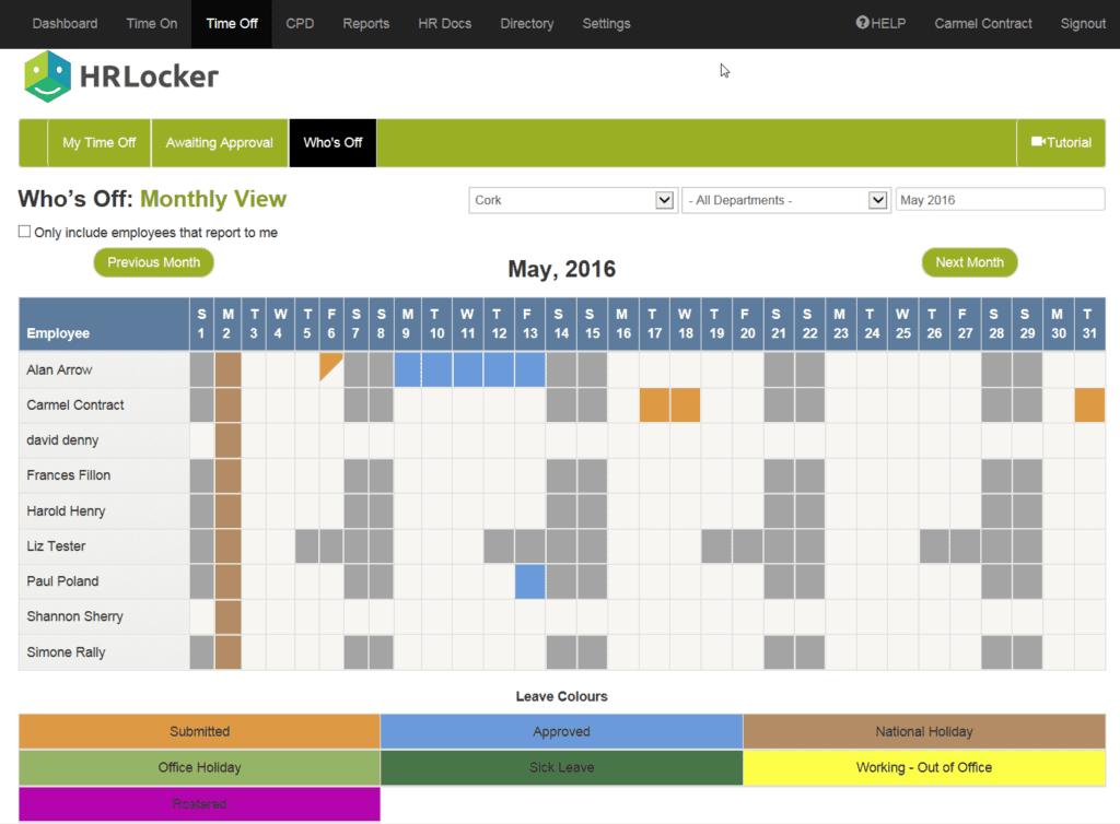 Screenshot of HRLocker's Who's Off calculator