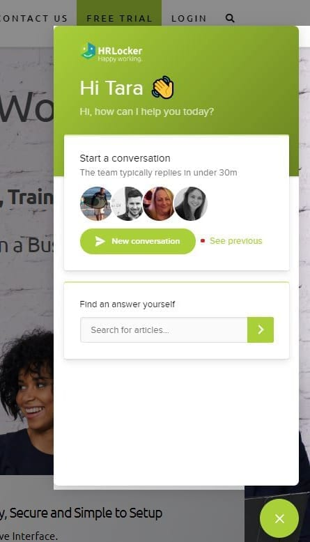 HELocker Live chat screenshot