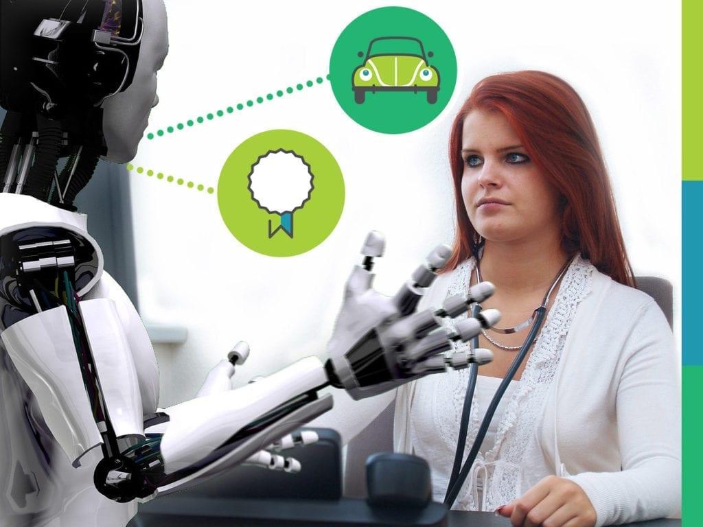 Robot speaking to a HR employee