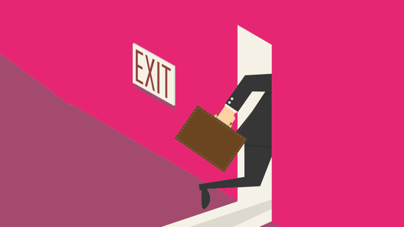 a man running out the door to a new job