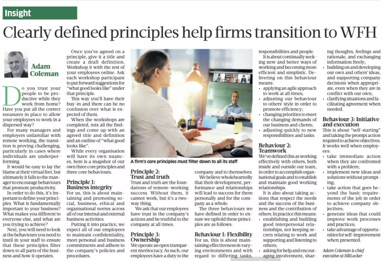 Clearly defined principles help firms Work From Home
