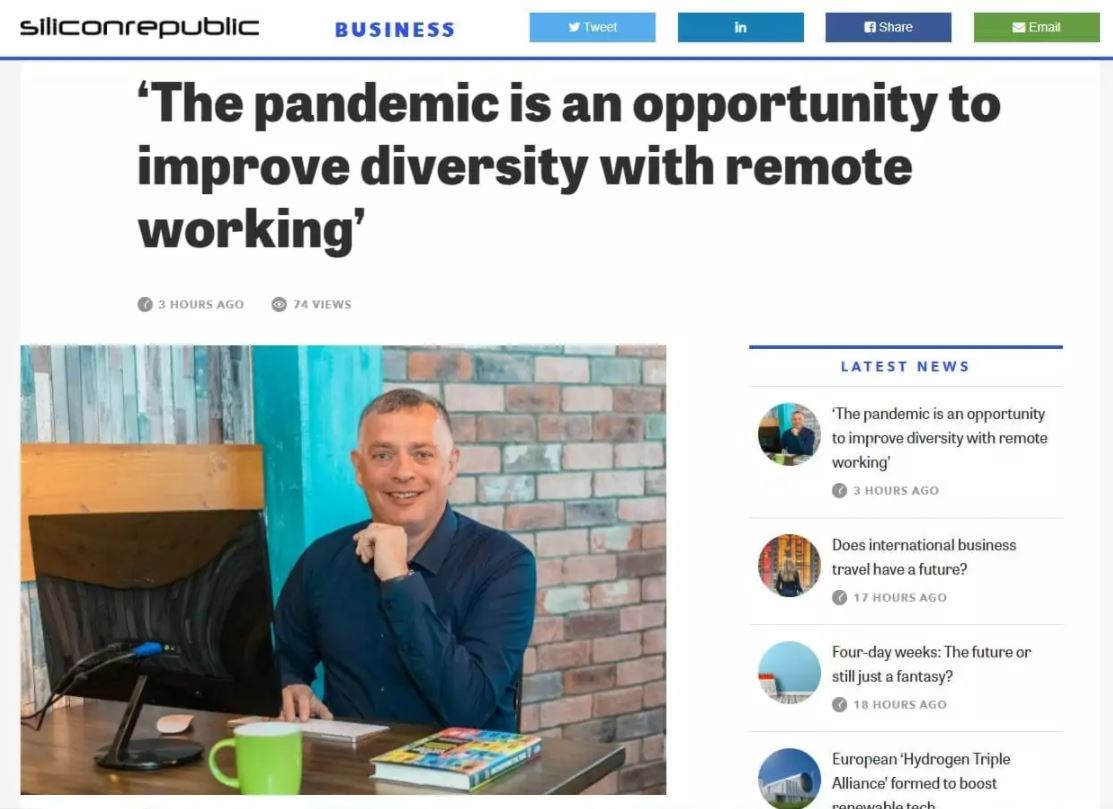 'The pandemic is an opportunity to improve diversity with remote working' - Sillicon Republic, August 25th, 2020