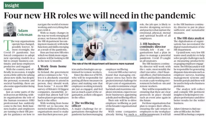 How the Covid-19 pandemic will transform HR roles - Business Post,  Sept. 20th, 2020