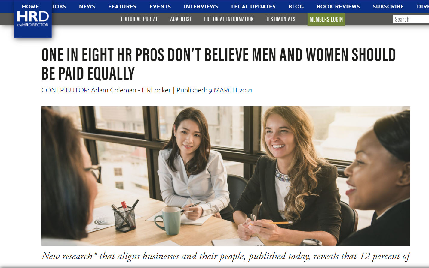 1 in 8 HR Professionals don't believe that men & women should be paid equally