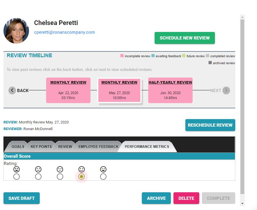PErformance Management screen from employees perspective