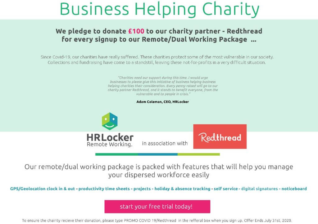HRLocker Launches Programme to Help UK Business &  Support Charities through Pandemic