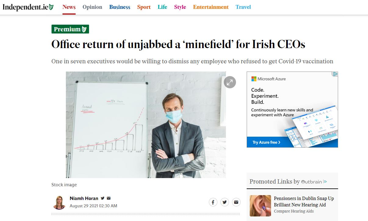 Office return of unjabbed a 'minefield' for Irish CEOs