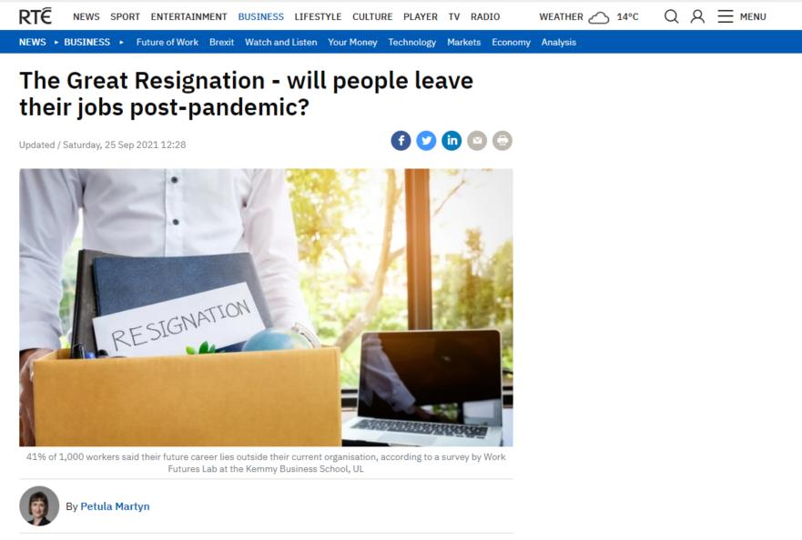 The Great Resignation RTE article heading image